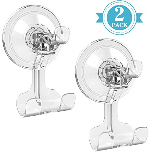 M-Better Suction Cup Hooks, Razor Holder Reusable for Shower Bathroom Heavy Duty Suction Hooks No Trace Oilproof Kitchen Wall Hanger Transparent Waterproof, 2 Pack