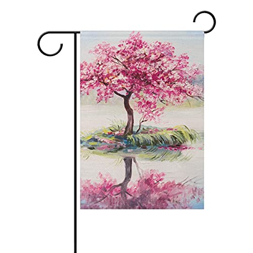 Cherry Tree Sakura On The Lake Garden Flag Double Sided Printing Polyester 12x18 inch for Outdoor Home Garden Flower Pot Decor