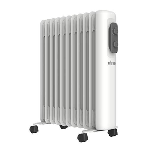 Ufesa RD2500A - Radiador de Aceite Portátil 2500W, 11 elementos, Diseño Slim, Termostato Regulable, 3 Niveles de Temperatura, Sistema Seguridad Antivuelco