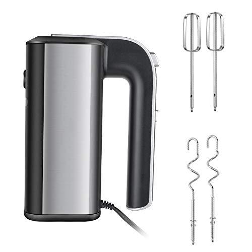 POOPFIY 5-Gang Electric Hand Mixer, Rührbesen, 450 Watt, Spiralkneter aus Edelstahl, 5 Geschwindigkeiten Plus Turbo, für Backen, Kuchen Mixer