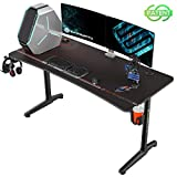 EUREKA ERGONOMIC Bureau Gaming P60 Bureau Gamer Bureau pour Gaming PC Informatique Table Desk Tapis Souris Porte Gobelet Support Casque Noir 152*70 cm