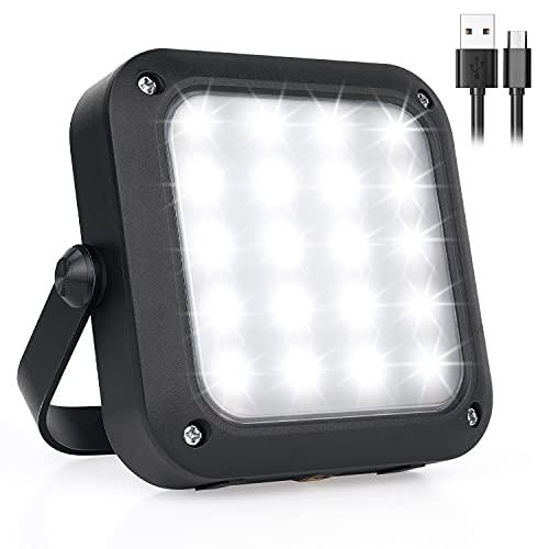Tragbarer LED Arbeitsscheinwerfer, FUJIWAY Wiederaufladbares Outdoor Flutlicht Campinglampe mit Batterie, 5 Modi, Scheinwerfer für Camping, Arbeiten, Autoreparatur, Werkstatt und mehr