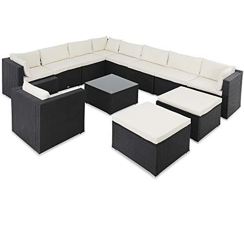 Casaria Poly Rattan Lounge Set XXXL 7cm Dicke Auflagen Tisch Sessel Kombinierbar Schwarz Garten Terrasse Möbel Ecksofa
