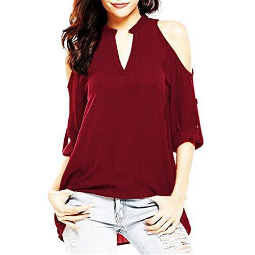 Blusa Mujer Cómoda Escote En V Color Sólido Fuera del Hombro Mujer Camisa Manga Larga Generosa Casual Temperamento Clásico Personalidad Transpirable Primavera Verano Mujer Top F-Red S