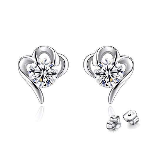Cubic Zirconia Stud Earrings For Women Girls 925 Sterling Silver Plated Hypoallergenic Earrings Heart Snow Windmill Crown Jewelry Gift