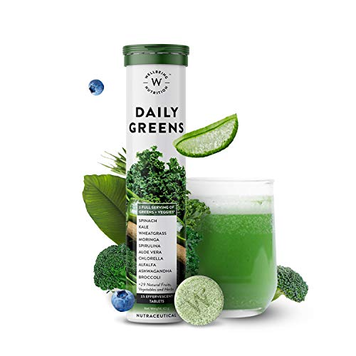 Wellbeing Nutrition Daily Greens, Wholefood Multivitamin with Vitamin C, Zinc, B6, B12, Iron for...