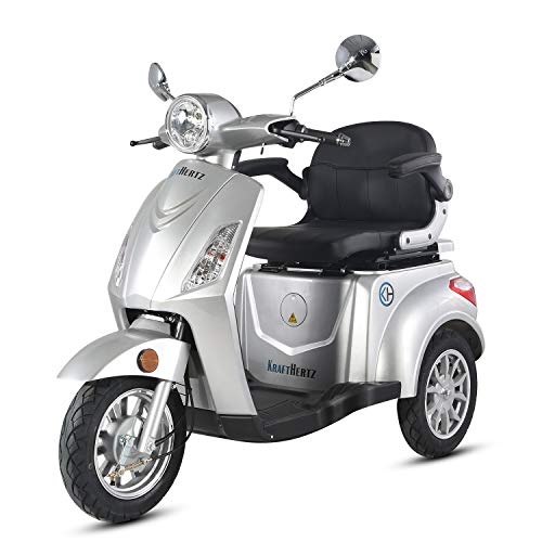 Krafthertz® seniorenmobiel Papamobil – elektrische driewieler voor senioren met 800 watt, max. 20 km/h, bereik tot 60 km, kleur: zilver.