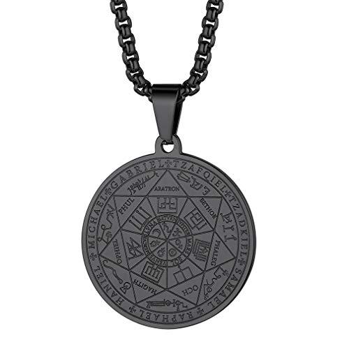 FaithHeart Collar Guarda Siete Arcángeles para Hombres y Mujeres Medallón Negra Acero Inoxidable Colgantes Resistentes Joyerías Religiosas Sello Suerte Pentagram Rey Salomón