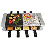 Dual Cheese Raclette Table Grill w Non-stick Grilling Plate and Cooking Stone- Deluxe 8 Person Electric Tabletop Cooker- Melt Cheese and Grill Meat and Vegetables at Once, Great Gift