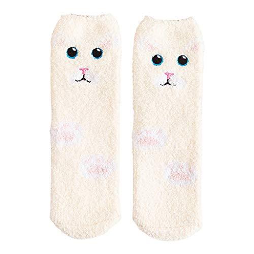 Fugift Calcetines de invierno gruesos de terciopelo coral para mujer, con diseño de animales de dibujos animados, jacquard, mullidos, térmicos para dormir en el hogar, calentadores de pies
