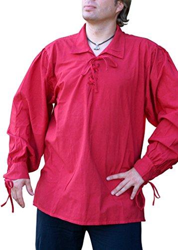 Chemise médiévale / Chemise pirate coton, rouge - Moyen âge, LARP - XXL