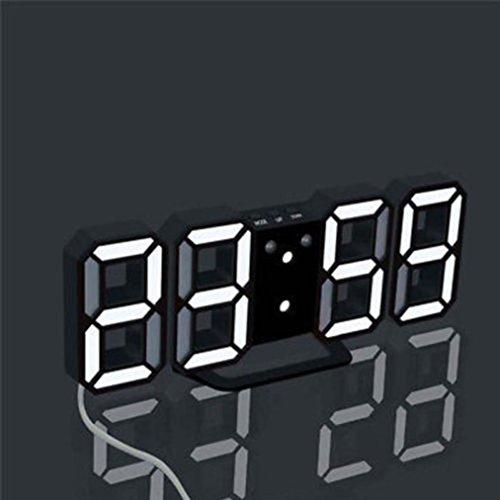 Toamen LED Clock, Modern Digital LED Table Desk Night Wall Clock Alarm Watch 24 or 12 Hour Display (Black-white)