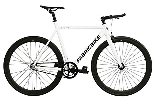 FabricBike- Bicicleta Fixed, Fixie, Single Speed, Cuadro y Horquilla Aluminio, Ruedas 28', 4 Colores, 3 Tallas, 9.45 kg Aprox. (Light Pearl White, S-50cm)