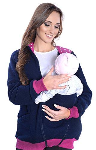 Mija - 3in1 Tragejacke, Umstandspullover/Fleece Tragepullover für Tragetuch Babytrage 4056 (XXL/XXXL, Dunkelblau)