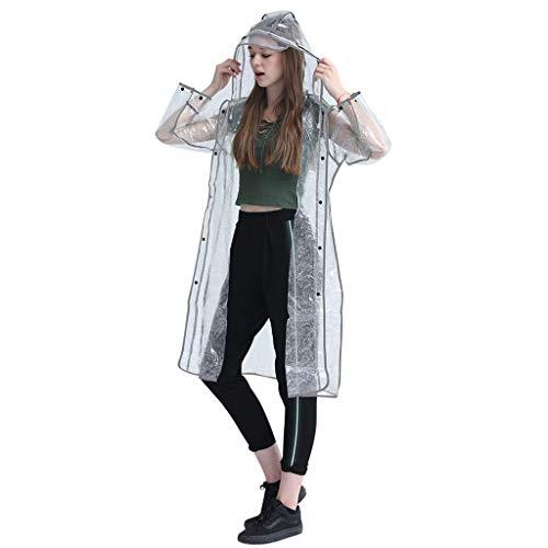 ZHANGGUOHUA Trasparente Raincoat for Uomini e Donne Lungo la Sezione Corpo Intero Addensare Outdoor Turismo Eva Riflettenti Raincoat Impermeabile Poncho (Color : Transparent, Size : XL)