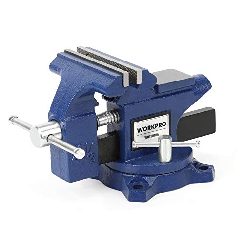 """WORKPRO Bench Vise, 4-1/2"""" Heavy-Duty Utility Combination Pipe Home Vise, Swivel Base Bench for Woodworking"""