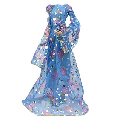 BLANCHO BEDDING Handgemachtes Retro Abendkleid Blau Langarm Prinzessin Kleid Hochzeitsparty Kleid Puppe Kleidung für 11,5 Zoll Puppe