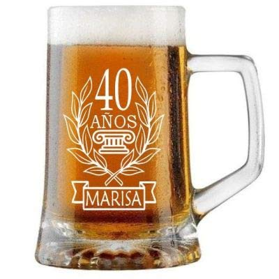 Jarra de Cerveza Personalizada CUMPLEAÑOS LAUREL MUJER. Regalo Grabado y Personalizado para Hombre o Mujer. Detalle para Celebraciones Cumpleaños Aniversario Regalo Día de la Madre Jubilación.