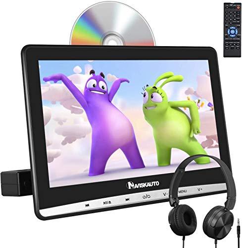 """NAVISKAUTO 12"""" Reproductor de DVD para Coche con IPS Pantalla, DVD para Reposacabezas con Auriculares Equipados soporta AV-IN/out, USB/SD, DVD/CD región Libre, con Unidad Óptica de Tipo de Succión"""