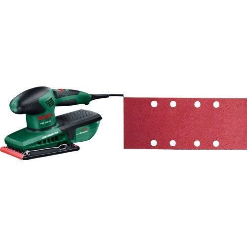 Bosch – PSS 200 AC – Lijadora orbital + 2 609 256 A86 - Juego de hojas de lija de 10 piezas para lijadora orbital