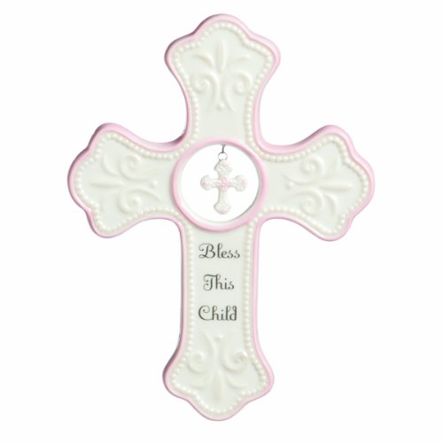 DEMDACO Bless This Child Soft Pink 7 x 5 Porcelain Ceramic Hanging Wall Cross