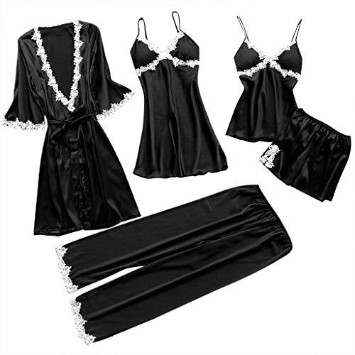 LILICAT 5PC Suit Nachtwäsche Damen Mode Dessous Unterwäsche Babydoll Nachtwäsche Kleid Rückenfrei Zweiteilige Nachthemd Schlafanzüge Negligee Wäsche Set Rückenfrei Schlafanzüge (M, Schwarz)