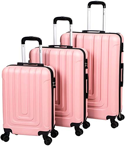 Stream 3 Piece Luggage Set with TSA Lock-Lightweight Hardside Spinner Luggage with 4 Double Spinner Wheels Travel Trolley Suitcase Set, 20' Cabin + 24' + 28' Hold Check in Luggage (Pink)
