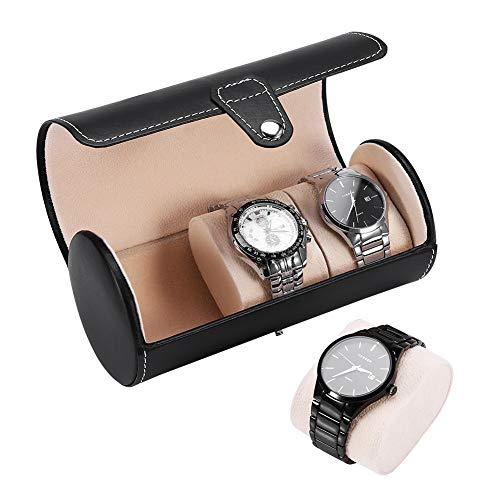 Salmue Caja de Relojes, 2 Colores 3 Rejillas Cilíndrico Hombre Mujer Cierre de Metal, Estuche de Almacenamiento para Relo, Caja para Almacenamiento Relojes Soporte(Negro)