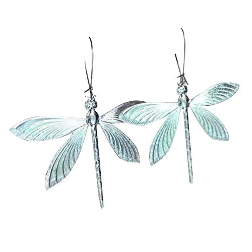 2021 Pendientes nuevos Libélula - Pendiente colgante con diseño de libélula lindo retro hecho a mano, Pendientes grandes de libélula de plata de aleación de ley para bodas de Navidad Joyas únicas