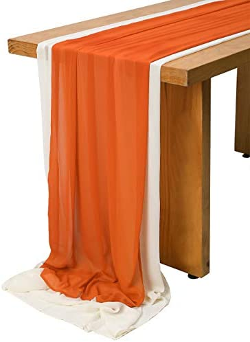 SHERWAY 2 Pieces 14Ft Semi Sheer Crinkle Chiffon Wedding Table Runner for Bridal Shower Party product image