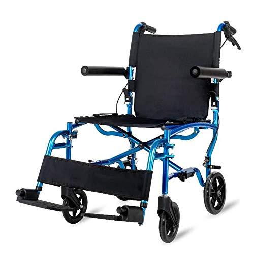 XLYAN Rollstuhl Faltbar Leichte Tragbare Aluminiumrollstühle Mit Handbremsen Transport Rollstuhl Rollstuhlträger Mit Trommelbremse Faltbar,Blue