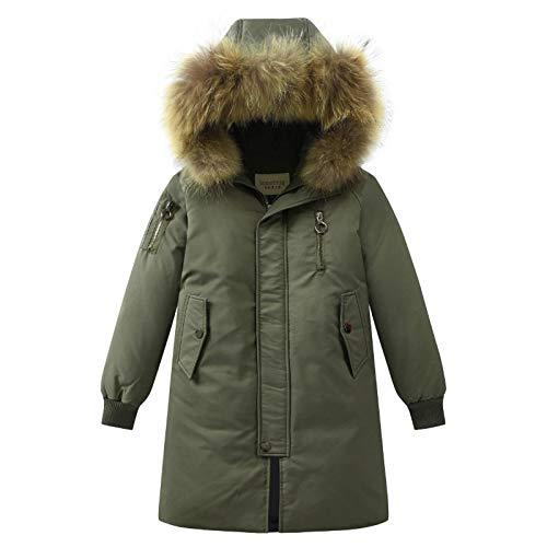 sunnymi Chaqueta de invierno para niños y niñas, de 4 a 14 años, con capucha, de plumón, abrigos, abrigo de invierno, cálido, con amortiguador, ropa exterior Verde militar. 4- 5 años