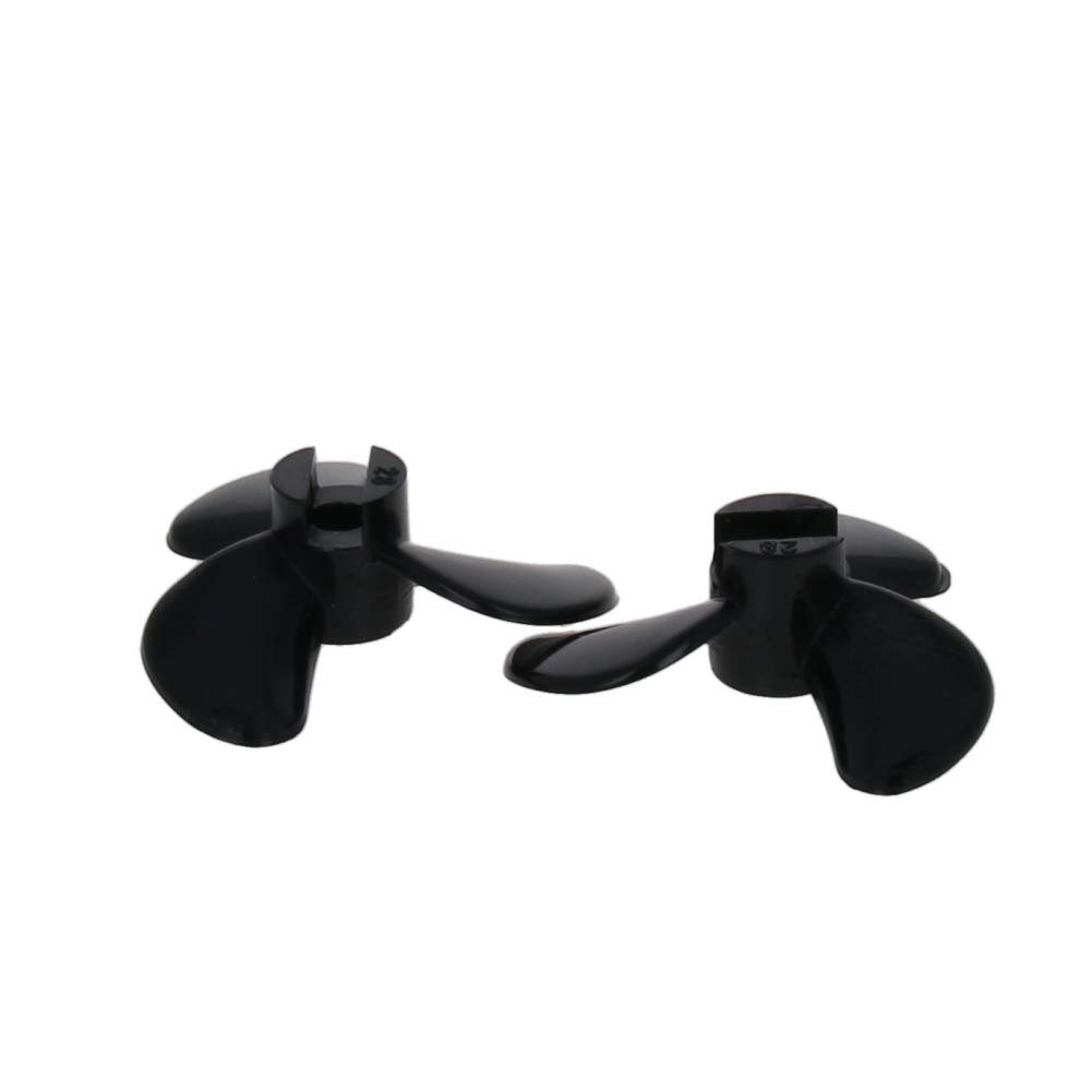 Fielect 1Pair Three Blade Propeller for Ship Model Rc Boat Propeller Model Black Plastic Positive Paddle and Propeller Reversing 40mm Diameter 10.5mm Height 1.4 Pitch 4mm Hole Dia
