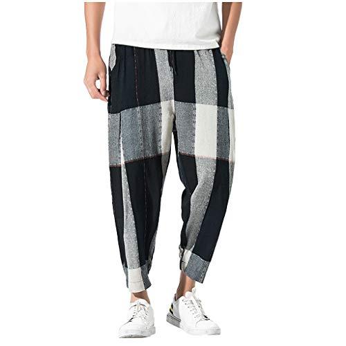Xmiral Pantaloni Uomo, Pantaloni Harem Pantaloni Basso Slim Fit Stile Hippop Patchwork Casuale Vintage Loose Cotton Linen Plaid Patchwork in Cotone Sciolto (M,1- Nero)