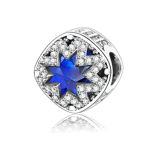 Pandora 925 Plata de Ley DIY Joyería CharmFit Charms Pulsera Glacial Charm de belleza Cristales azules suizos Clear CZ Beads