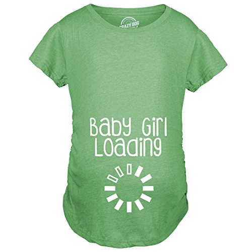 Crazy Dog Tshirts - Maternity Baby Girl Loading T Shirt Funny Pregnancy Announcement Reveal Cool Tee (Green) - 3XL - Femme