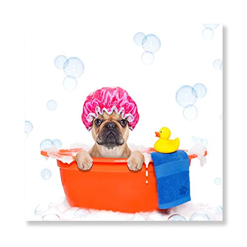 Dog Yellow Duck Canvas Wall Art Painting Artwork French Bulldog Dog In A Bathtub Not So Amused About That,with Yellow Canvas Prints Picture Home Office Bathroom Living Room Wall Decor 24x24 Inch