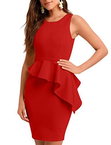 BORIFLORS Women's Sexy Sleeveless Ruffled Bodycon Cocktail Party Mini Club Dress,X-Large,Red