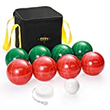 A11N 107mm Bocce Ball Set with 8 Resin Balls in 2 Colors,...
