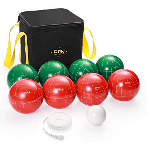 A11N 107mm Bocce Ball Set with 8 Resin Balls in 2 Colors, Pallino, Carrying Bag, and Measuring Tape for Backyard, Lawn, Beach Game