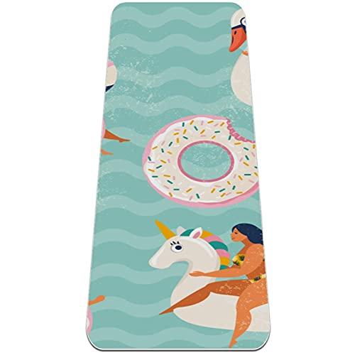 Esterilla de yoga gruesa de 6 mm para ejercicios y ejercicios, (72 'de largo x 24' de ancho x 1/4 de pulgada), flotadores inflables para piscina con forma de cisne flamenco y donut dulce