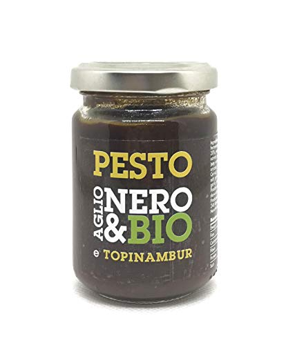 NERO FERMENTO NB Bio-Pesto aus schwarzem Knoblauch von Voghiera D.O.P. mit Topinambur 80 gr, Made in Italy, ohne Konservierungsstoffe, Antioxidans, Hervorragend für Croutons oder Käse