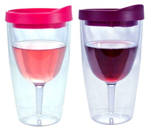 Southern Homewares Wein 2Go. isolierte Vino doppelte Wand Acryl Wein Trinkglas mit Merlot und Pink Getränke Durch Deckel, 473ml, 2er Pack