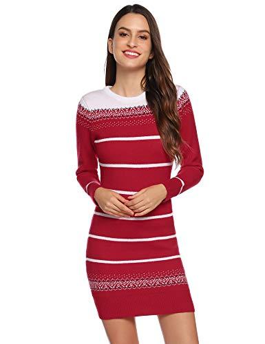Hawiton Damen Strickkleid im Norweger-Look Langarmiges Kleid mit Rundhalsausschnitt Süßes Mini-Kleid mit Streife Winterkleid für Freizeit Business, Rot, XXL