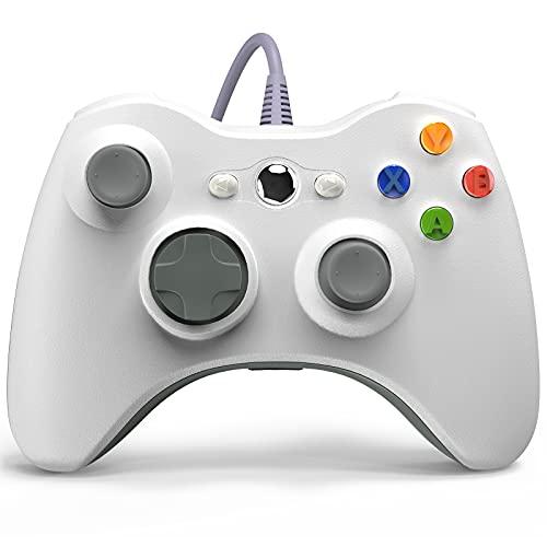 Controle de jogos com fio Xbox 360, YAEYE USB com controle de gamepad para Microsoft Xbox 360, PC Windows 7,8,10 com turbo de vibração dupla, botões de disparo, Branco