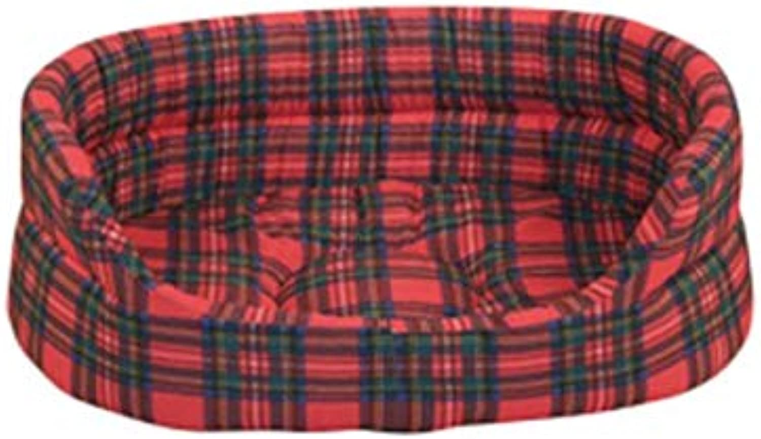 Classic Tartan Pattern Oval Shaped Bed For Pets (Material  Polyester, color  Black Red) (53 cm (21 ))
