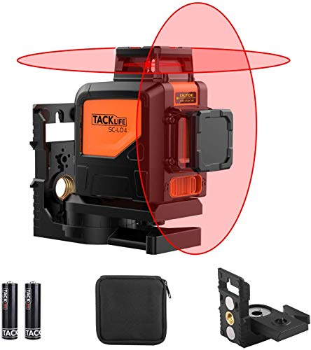 Kreuzlinienlaser 2 x 360° Tacklife SC-L04 Selbstnivellierend Linienlaser 30M, Pulsfunktion, IP 54 Staubdicht, mit Schutztasche, 360° Schwenkbare Magnethalter, 4x AA Batterien