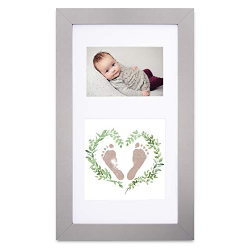 Baby handprint and footprint kit in baby picture frame. Inkless and mess free baby footprint kit and baby handprint kit. Top baby girl gifts and baby boy gifts. Unique baby shower gifts. Baby keepsake