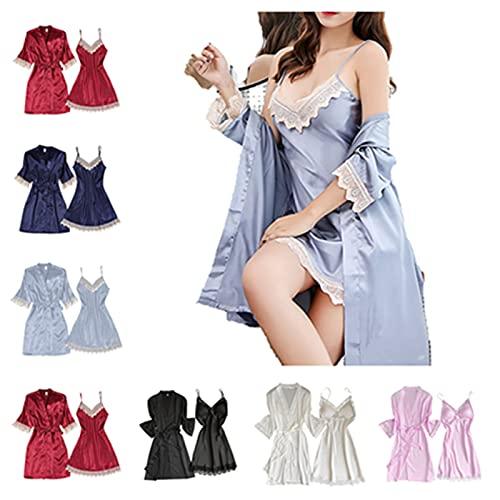 Damen Satin Pyjamas Set Sexy Bademantel Kimono Nachthemd Negligee Sling Lingerie Zwei Stücke Babydoll Dessous Chemise Spitze Robe Set Nachthemd Schlafshirt Spaghettiträgern für Sommer Kleider