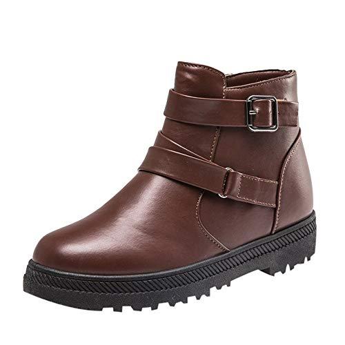 JERFER Reißverschluss Runde Toe Schuhe Frauen Solid Warm Winter Flach Schnee Kurze Stiefel